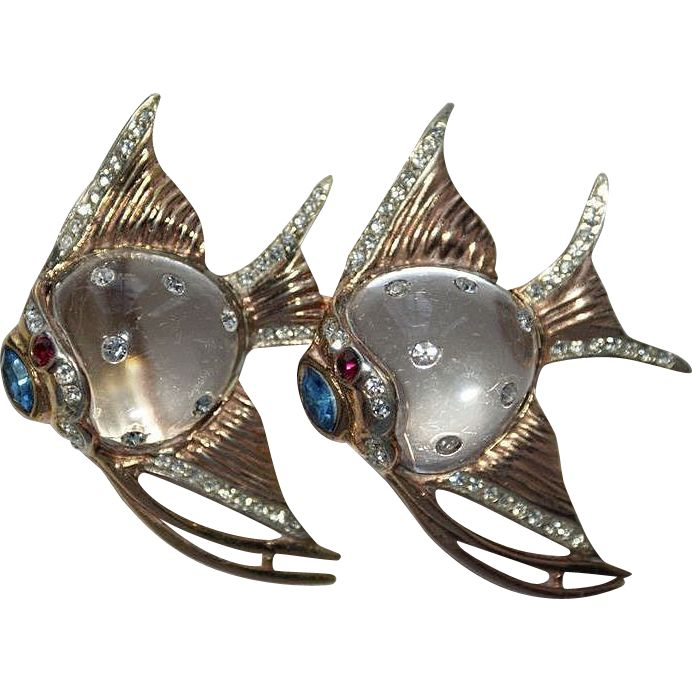 Coro Sterling Angel Fish Jelly Belly Duette Pin Brooch 1940's, Luminous Bijoux Exclusively on Ruby Lane