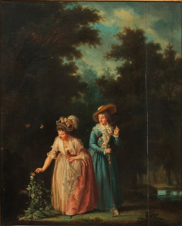 Pehr Hilleström  Two women trying to catch a butterfly on a flower, ca 1787.