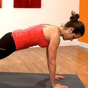 Tone Your Arms and Abs With the Up-Down Plank: Start in plank position, slowly drop down onto one forearm and then the other, then slowly up onto one hand and then the other.