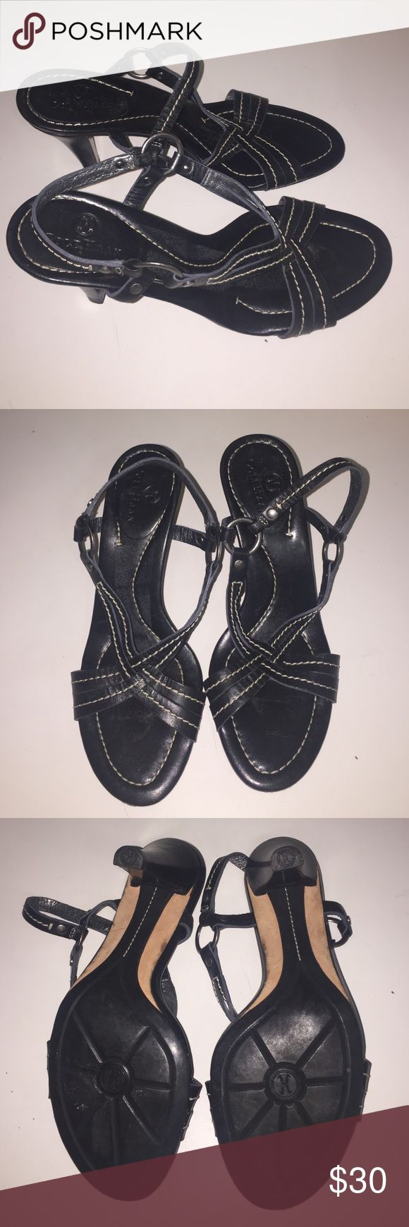Cole Haan Heel Open Toe Sandals Sz 6 B This is a gently used must have item! We are unable to model items or take sales to PP. Willing to negotiate using the offer button. No trades. Happy Poshing! Cole Haan Shoes Heels