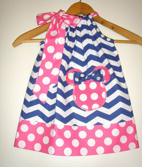 off coupon is Minnie PINK white and blue chevron pink dots pillowcase dress appliqued Disney clothing (sizes 6 7 8