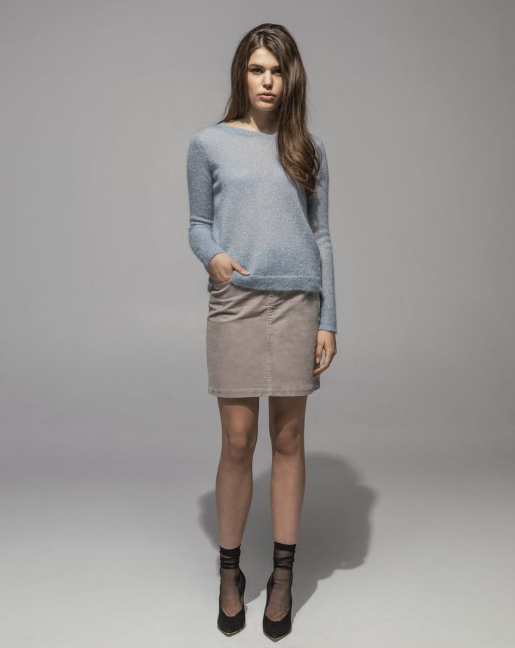 Metallic Mohair Sweater (Moonstone) 16 Wale Stretch Cord 5 Pocket Skirt (Sand)