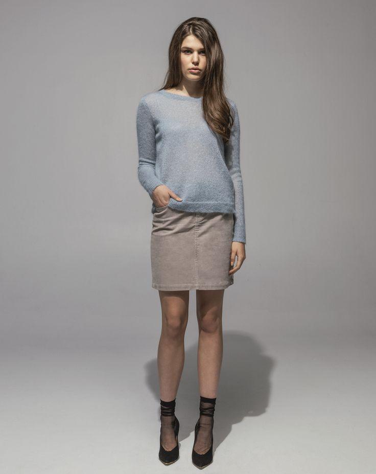 Metallic Mohair Sweater (Moonstone) 16 Wale Stretch Cord 5 Pocket Skirt (Sand)