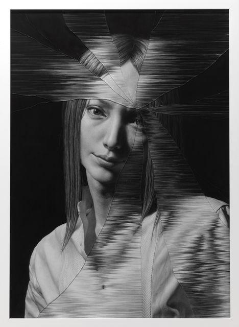 Taisuke Mohri, The Cracked Portrait # 4, pencil on paper, glass, 95.2×69.4cm, 2014