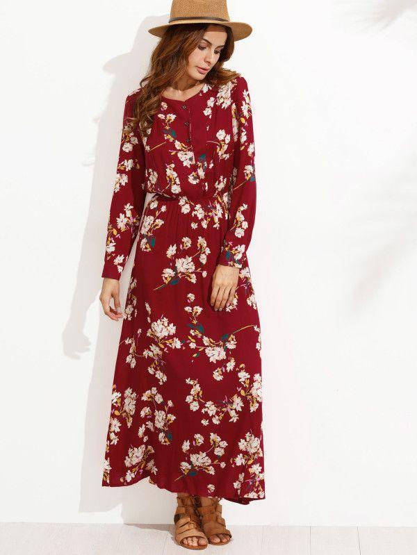 Robe chemise motif fleuri avec boutons rouge French SheIn