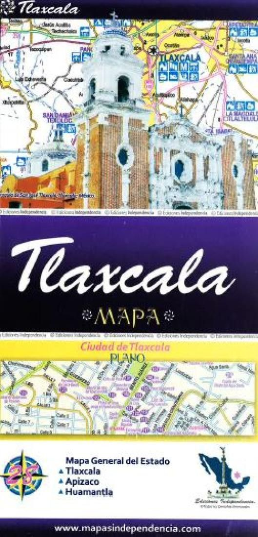 Tlaxcala, Mexico, State and Major Cities Map by Ediciones Independencia