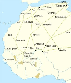 Ghana Empire..trade routes of the Western Sahara c. 1000-1500. goldfields are indicated by light brown shading