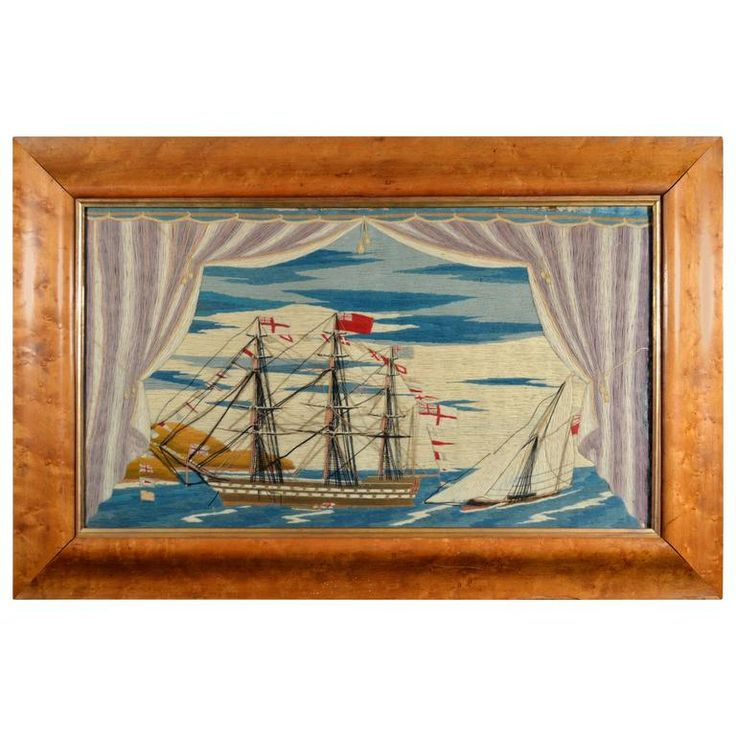 Sailor's Woolwork of a Second Rate Royal Navy Battleship and Sloop of War | 1stdibs.com