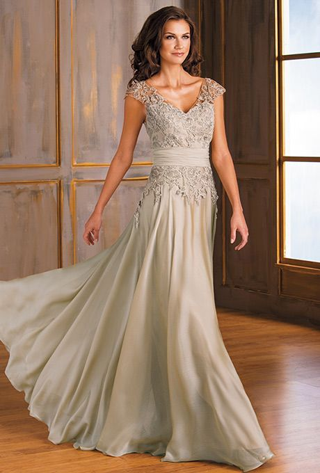 Brides: Jade by Jasmine. A head turner for your next special occasion in this Jade Tiffany Chiffon dress. Look elegant in this classic V-neckline and A-line skirt silhouette with beautiful ruching on the neckline and beading detail on the sash.