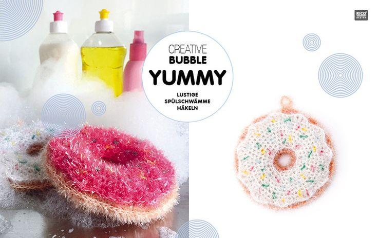 Die Publikation BUBBLE YUMMY liefert Anregungen und Häkelanleitungen für coole Spülschwämme aus dem Rico Design Schwammgarn Creative Bubble. #Rico Design #häkeln #crochet #Schwamm #Spülschwamm #sponge #Donut