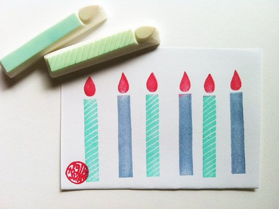 candle rubber stamp. hand carved rubber stamp. birthday. christmas. wedding. set of2.