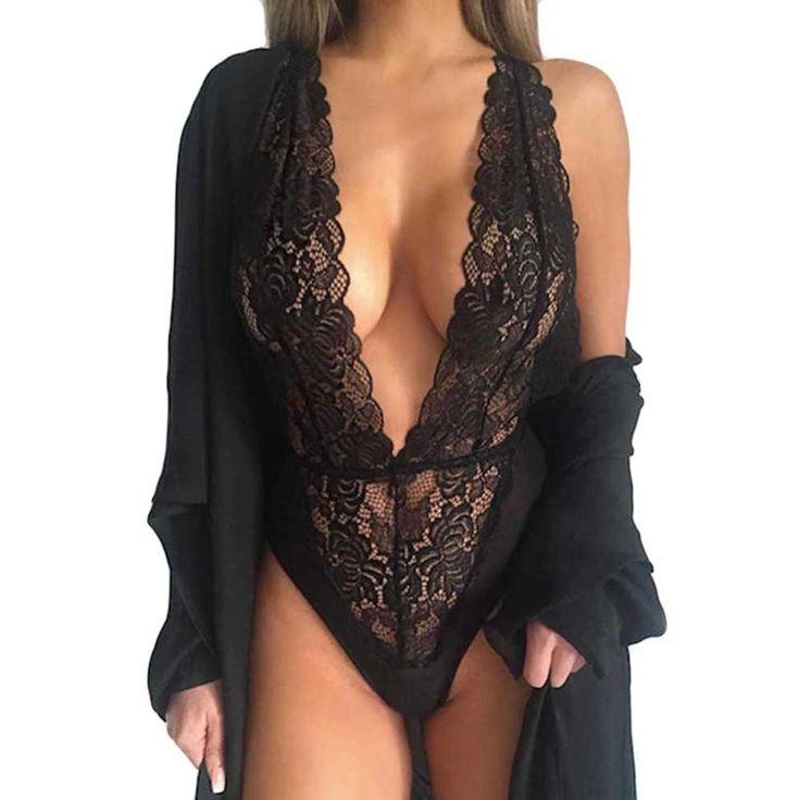 Hot New Women Sexy Deep V Neck Lace Lingerie Sleepwear Dress Underwear Babydoll Nightgown Black nightdress chemise de nuit Z1