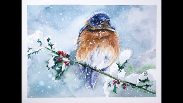 Watercolor Bird In A Snow Real Time Video Color Swatches