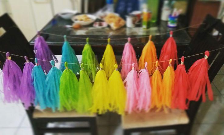 The rainbow tassel garland