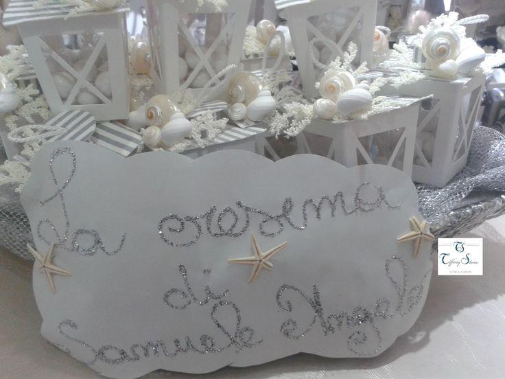 Lanterne complete di confetti confezionate con tema mare for Box significato