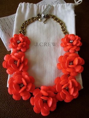 J Crew Beaded Rose Red Orange Flowers Crystal Center Statement Necklace | eBay