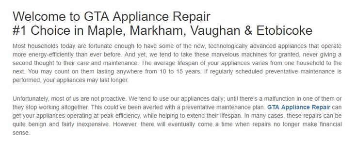GTA Appliance Repair 106 Oberfrick Ave, Unit B Maple, ON L6A 0N9 Canada (647) 952-2509  https://gtaappliancerepairs.ca/maple.html