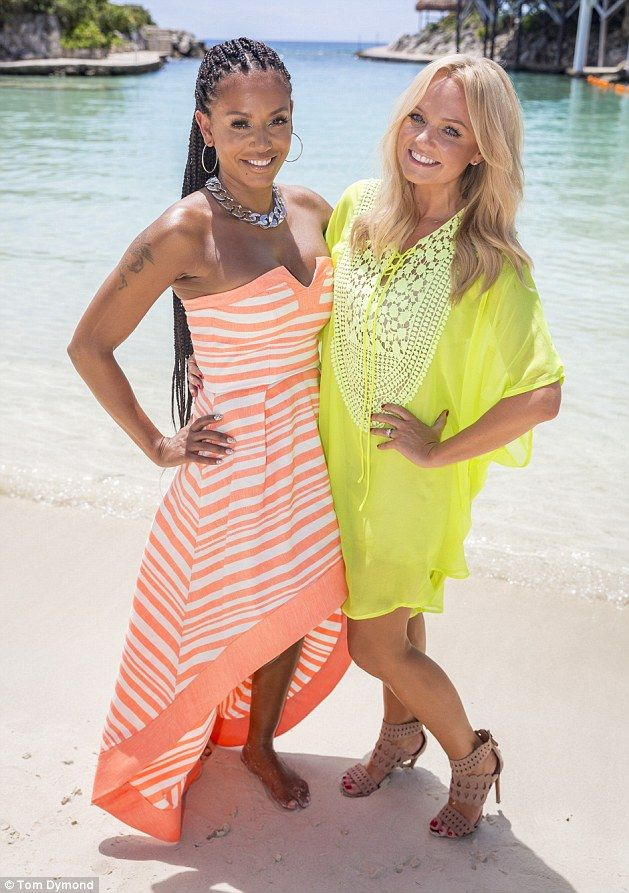 Former Spice Girls Mel B and Emma Bunton at the Occidental Grand Xcaret Resort in Mexico (Sept 2014) - Mel B and pal Emma Bunton found time to visit ancient Mayan ruins nearby; Former Spice Girls also explored a wildlife park and underground caves. More: http://www.dailymail.co.uk/travel/travel_news/article-2773417/Mel-B-Emma-Bunton-stun-Mexico-hotel-guests-X-Factor-auditions.html