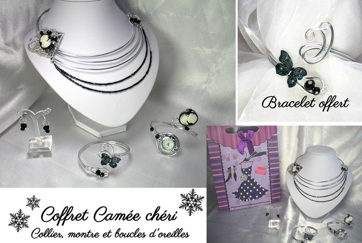 Coffret camée noir noël perles cristal
