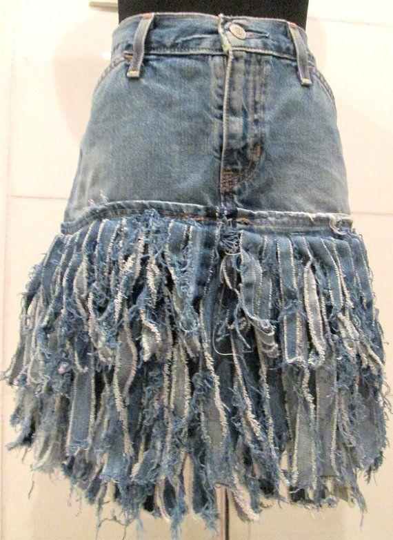 Tattered Denim Skirt. Ripped Denim Skirt. by MISSVINTAGE5000