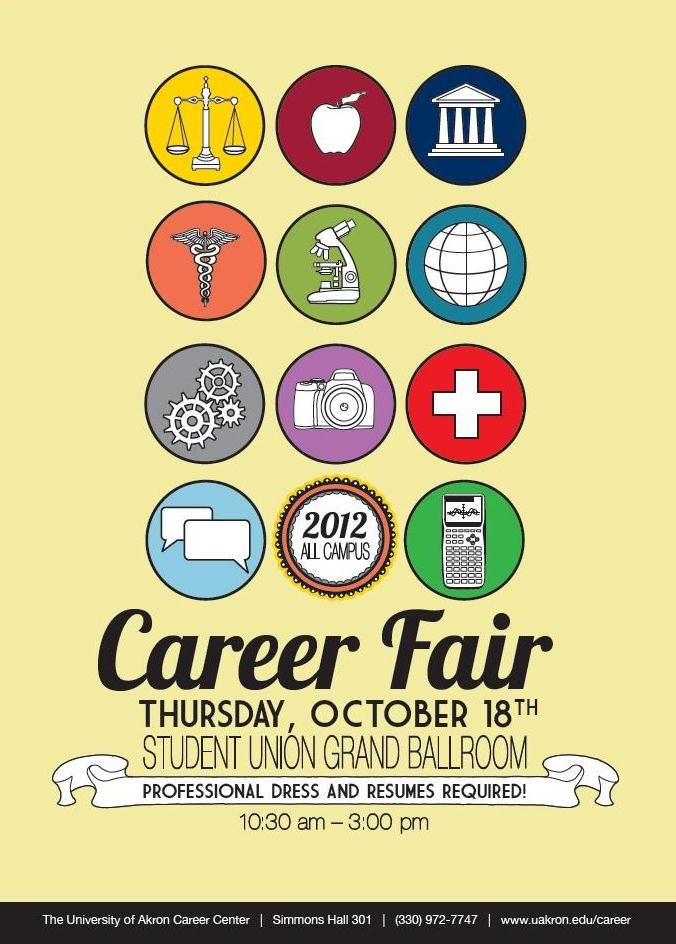 The Fall 2012 All Campus Career Fair is coming up on October 18. Professional dress is required!