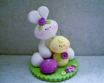 Bunny  Bluebird  Polymer Clay  Easter Scene by countrycupboardclay