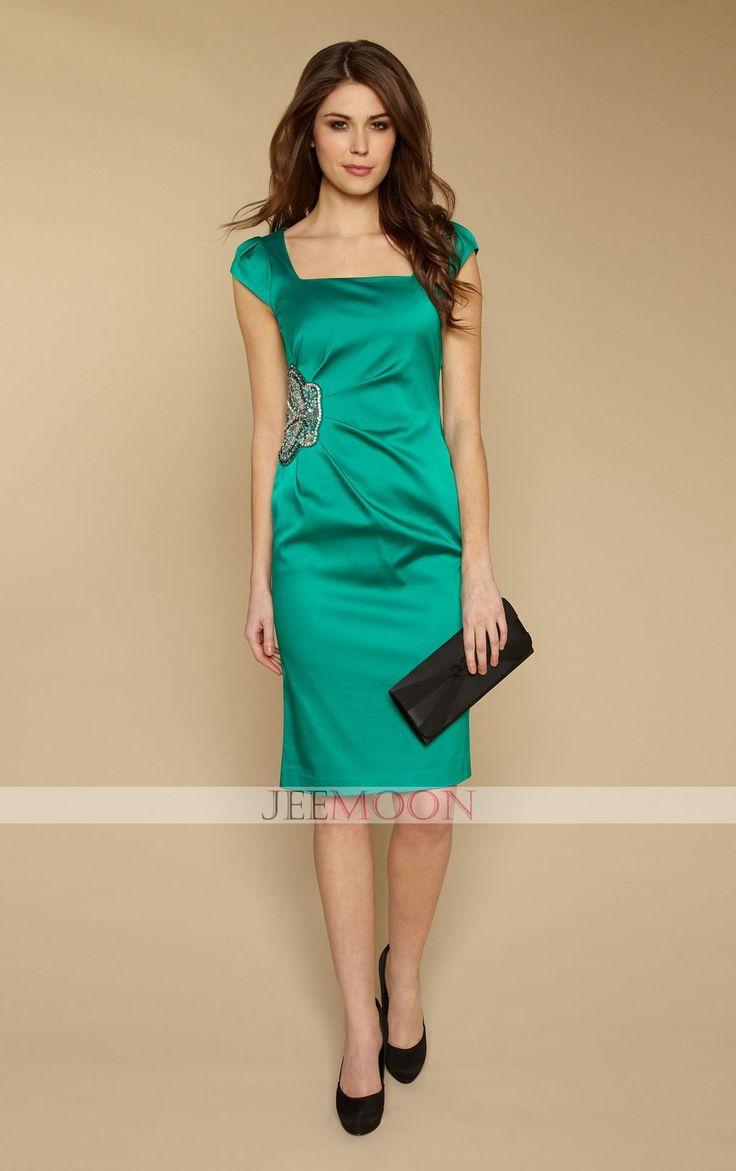 Square Sheath/Column Knee-length Green Satin Evening Dress