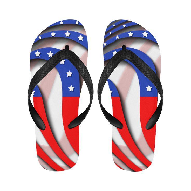 Flag of United States of America Flip Flops for Men/Women (Model 040)