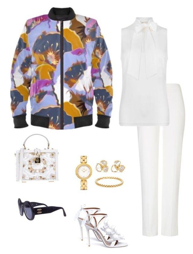 """Bouquet"" jacket ootd by guutanii on Polyvore featuring polyvore, fashion, style, MICHAEL Michael Kors, ESCADA, Aquazzura, Dolce&Gabbana, Fendi, Pippa Small, Chanel and clothing"