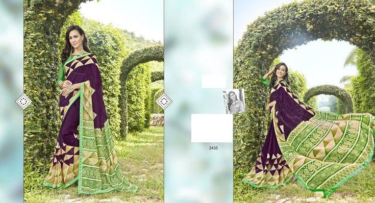 Fantastic Dark Purple Saree,Georgette saree,printed saree,buy saree online,casual saree