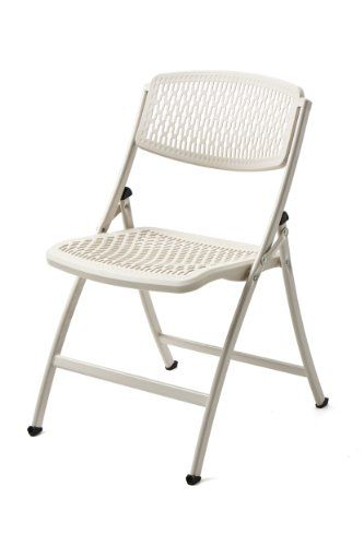 Plastic Folding Chairs Foldable Backrest Steel Durable White 4 Pack Wide NEW