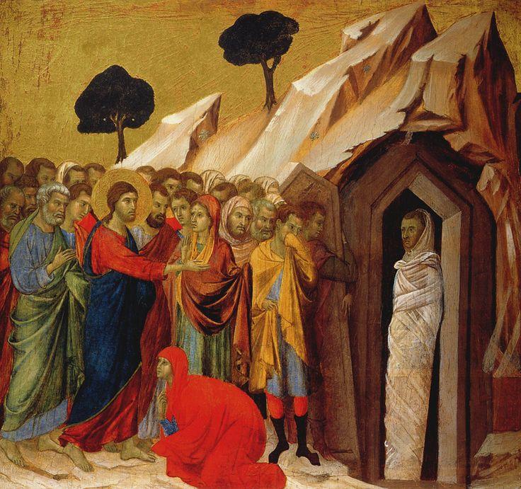 """museumaddictsanonymous: """"Duccio di Buoninsegna, Resurrection of Lazarus, c. 1308-11 """""""