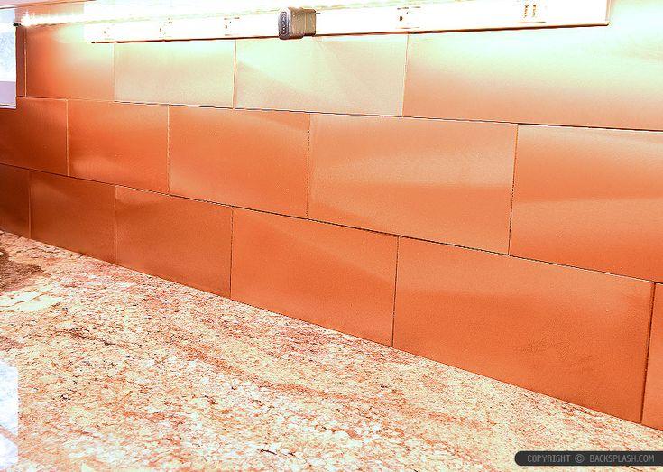 Typhoon bordeaux countertop copper backsplash tile with beige cabinet from Backsplash.com