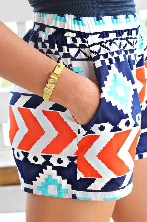 Tribal Print Shorts - Red / Aqua / Navy I WANT THEM SO BAD!