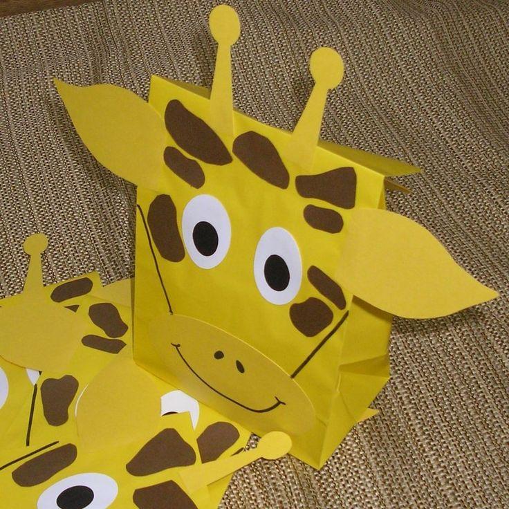 Giraffe Treat Sacks - Jungle Zoo Safari Theme Birthday Party Favor Bags by…