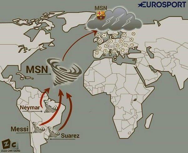 Huragan MSN z Ameryki Południowej nawiedził Europę • Lionel Messi, Luis Suarez i Neymar zagrażają klubom europejskim • Zobacz >> #barca #fcbarcelona #barcelona #football #soccer #sports #pilkanozna
