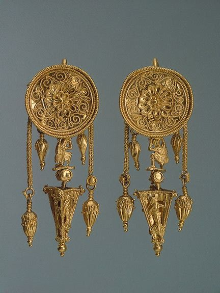 Pair of Earrings with a Disc and a Pyramid, 330-300sBCE The Hermitage Museum