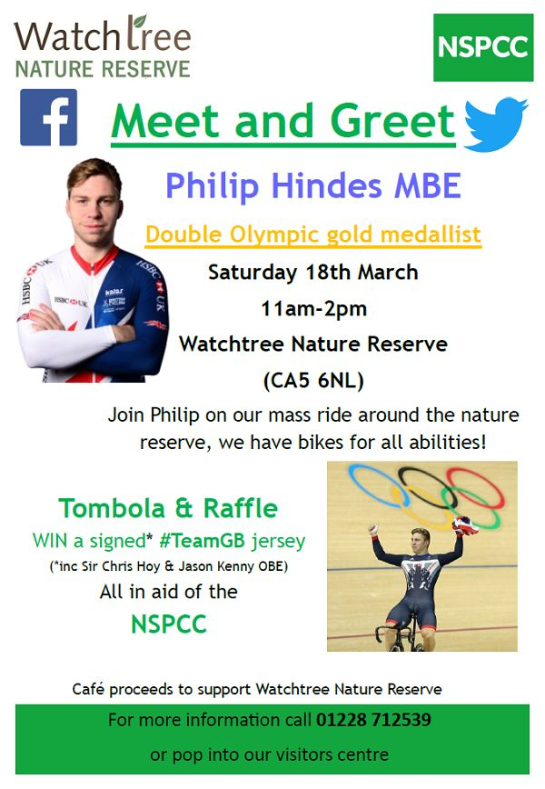 Double Olympic Champion cyclist comes to Watchtree http://www.cumbriacrack.com/wp-content/uploads/2017/03/phlip-hindes-watchtree.png This Saturday 18th March 2017 Watchtree Nature Reserve are hosting a 'Meet & Greet' with double Olympic champion track cyclist Philip Hindes MBE    http://www.cumbriacrack.com/2017/03/15/double-olympic-champion-cyclist-comes-watchtree/