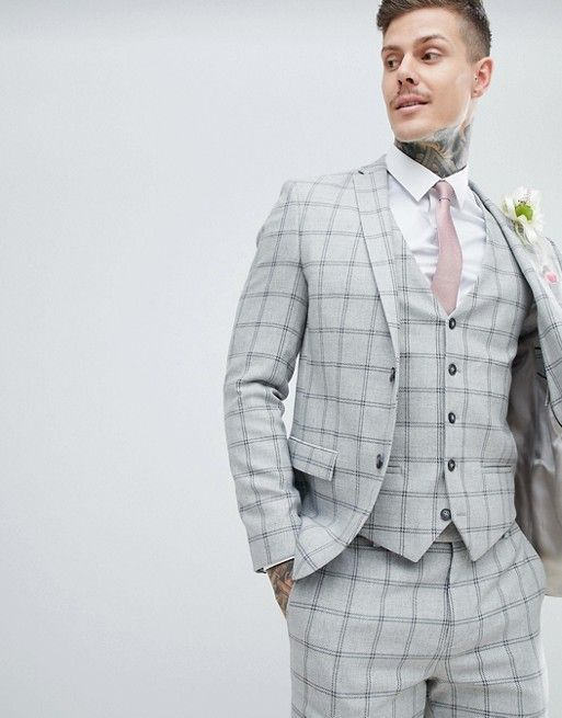 8e6c51df74aa River Island wedding Skinny Suit Jacket In Grey Check in 2019 | MAN SUITS  DESIGN | Suits, Skinny suits, Suit jacket