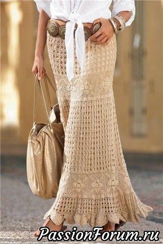 Макси юбка крючком из каталога Boston Proper. Схемы вязания