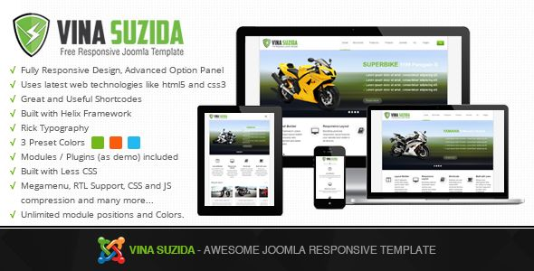 Vina Suzida is the awesome Joomla! Responsive Template created for corporate and portfolio websites – business site needn't be boring! It features a very clean and minimal design that is perfect for showcasing your work. It is also optimized for Retina Displays (used in iPhone, iPad and MacBook Pro Retina). Download here: http://thecoders.vn/joomla-templates/item/143-vina-suzida-awesome-joomla-responsive-template.html
