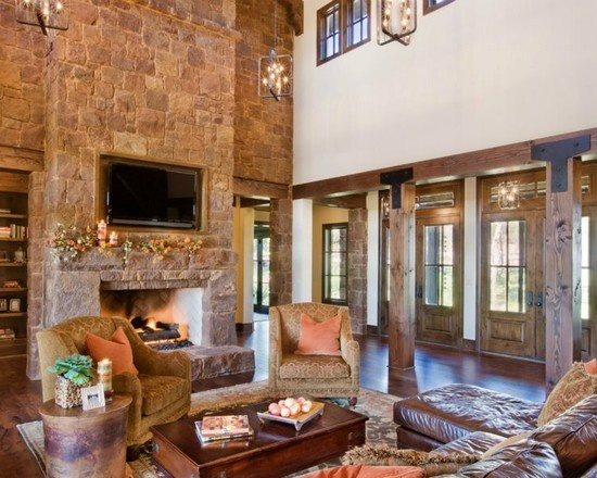 Austin Contemporary Living Room Stone Fireplace Design