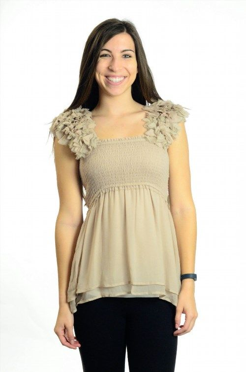 53.46$  Buy here - http://viusf.justgood.pw/vig/item.php?t=mgaqt12775 - NWT S Yoana Baraschi Beige Sunset Diva Date Smocked Top With Ruffled Straps