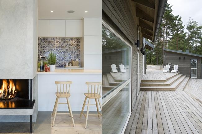 Villa Kalvudden, Sweden Bespoke furnishings, sauna,fireplace,finishes and surfaces andinteriorlighting scheme.