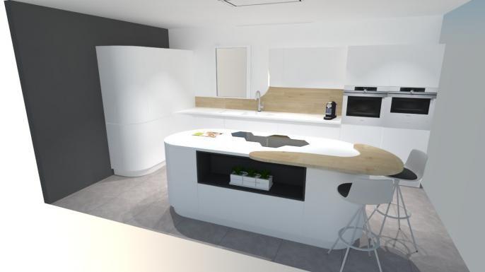 Une cuisine futuriste à découvrir absolument avec:   -Plaque induction hexagonale  -Meubles arrondis -Ouverture électrique  -Ecran tactile intégré dans le plan de travail en Corian - ...  http://www.cuisines-hugo-martin.fr/cuisiniste-rouen/cuisine-prix-salon-meuble-mobilier-3d-cuisiniste-barentin-paris/cuisine-futuriste-blanche-avec-ilot.html