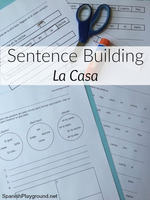 Sentence building in Spanish helps kids learn to read and is vocabulary practice for Spanish learners. Free sentence building activities with house words.