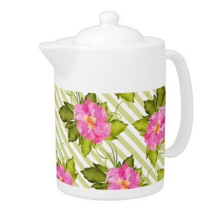 Tropical Flower Green Stripes Medium Teapot - floral style flower flowers stylish diy personalize
