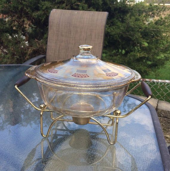 Vintage Midcentury Fire King Chafing Dish Gold by OldFamiliars