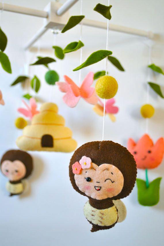 Flower baby mobile Spring nursery mobile Tulips Bee Cot Crib mobile Butterfly mobile Girl Hanging mobile Baby shower gift 100% wool felt