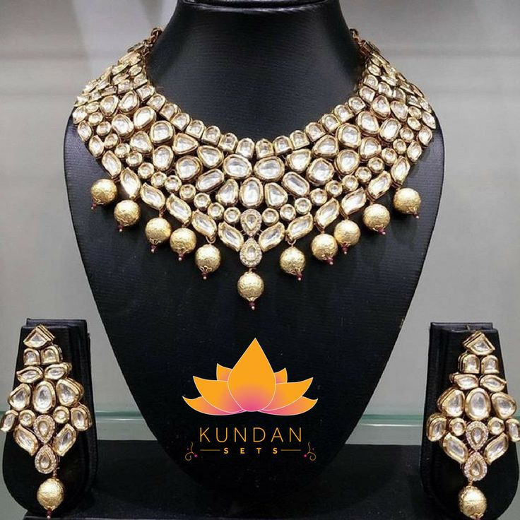 Kundan Necklace Set with Earrings and Tikka Stones: Kundan Gold Plated *Please contact us for custom colors or to add additional jewelry pieces to this order